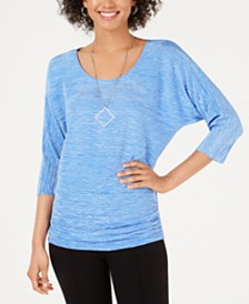 JM Collection Textured Dolman-Sleeve Necklace Top, Created for Macy's