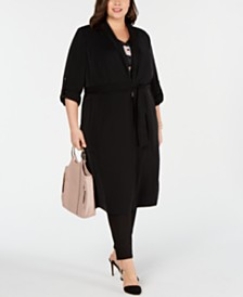 654371d013e I.N.C. Plus Size Open-Front Trench Coat
