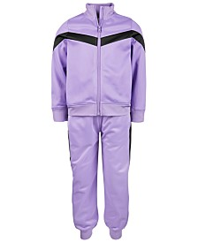 Ideology Little Girls Colorblocked Zip-Up Jacket & Track Pants, Created for Macy's