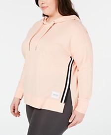 Calvin Klein Performance Plus Size Varsity-Stripe High-Low Hoodie