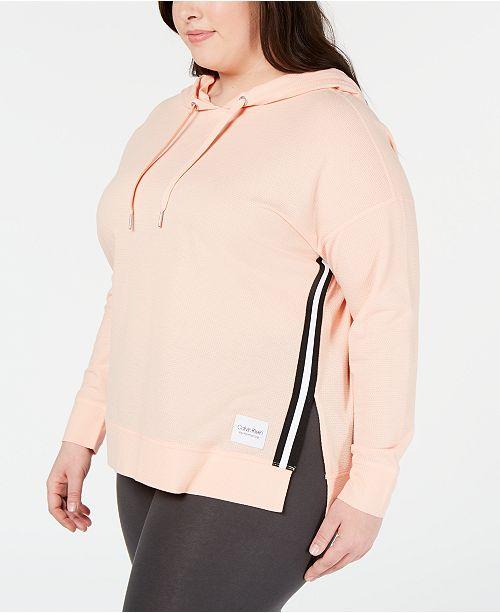 b9f8875c4 Calvin Klein Plus Size Varsity-Stripe High-Low Hoodie   Reviews ...
