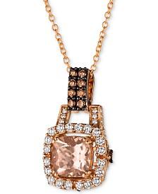"""Le Vian® Peach Morganite (1 ct. t.w.) & Diamond (1/2 ct. t.w.) 18"""" Pendant Necklace in 14k Rose Gold"""