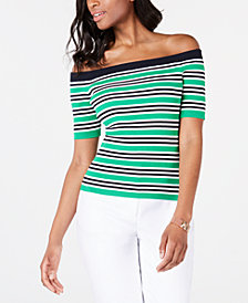 Tommy Hilfiger Cotton Off-The-Shoulder Ribbed Sweater