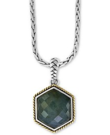 """EFFY® Labradorite (9-9/10 ct.t.w.) 18"""" Pendant Necklace in Sterling Silver & 18k Gold over Sterling Silver"""