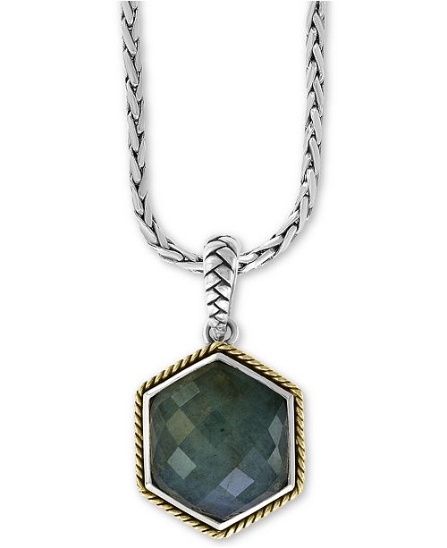 """EFFY Collection EFFY® Labradorite (9-9/10 ct.t.w.) 18"""" Pendant Necklace in Sterling Silver & 18k Gold over Sterling Silver"""