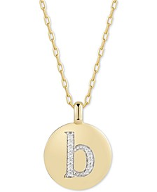 """Swarovski Zirconia Initial Reversible Charm Pendant Necklace in 14k Gold-Plated Sterling Silver, Adjustable 16""""-20"""""""