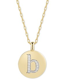 """CHARMBAR™ Swarovski Zirconia Initial Reversible Charm Pendant Necklace in 14k Gold-Plated Sterling Silver, Adjustable 16""""-20"""""""