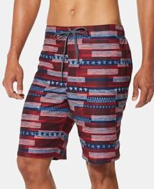 "Speedo Men's American Flag Stripe TurboDri 9"" E-Board Swim Trunks"