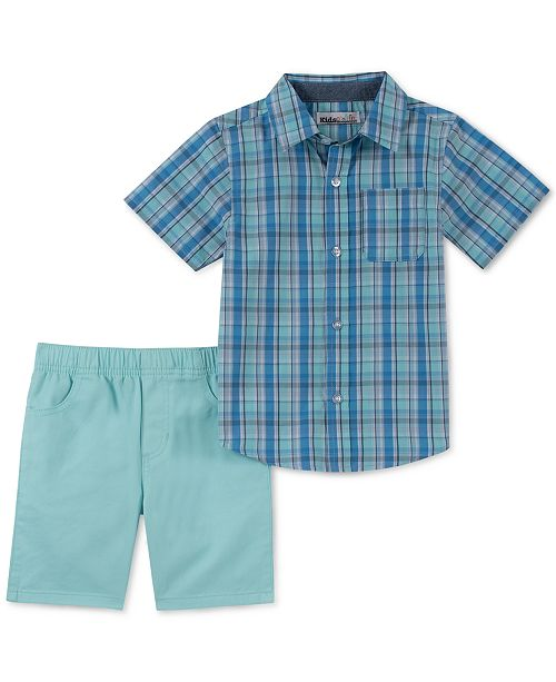 Kids Headquarters Little Boys 2-Pc. Plaid Shirt & Twill Shorts Set