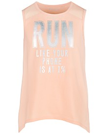 Ideology Big Girls Run-Print Mesh Tank Top, Created for Macy's