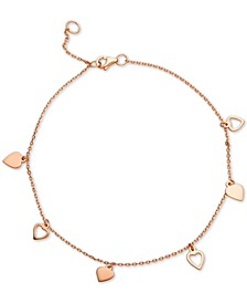 Heart Charm Ankle Bracelet in 18k Rose Gold-Plated Sterling Silver, Created for Macy's