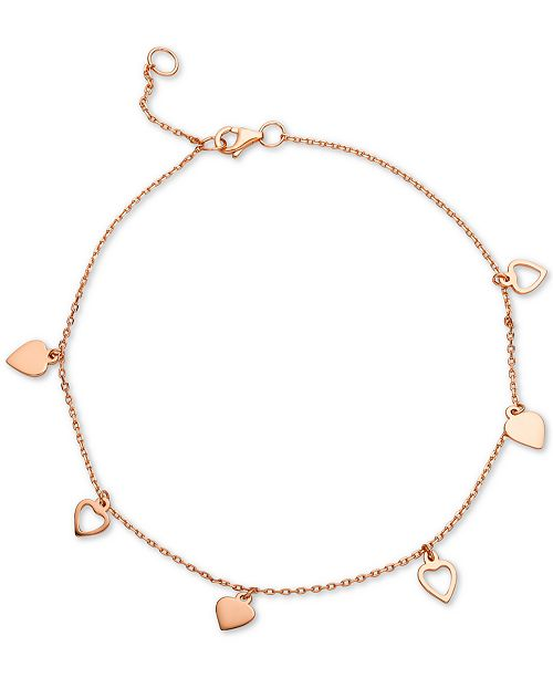 Giani Bernini Heart Charm Ankle Bracelet in 18k Rose Gold-Plated Sterling Silver, Created for Macy's