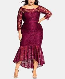 City Chic Trendy Plus Size Off-The-Shoulder Lace Gown