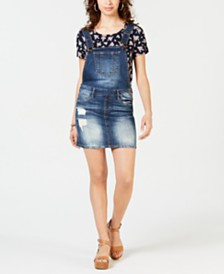 Dollhouse Juniors' Ripped Faded Denim Skirtall