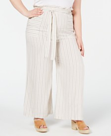 Monteau Plus Size Tie-Waist Pants