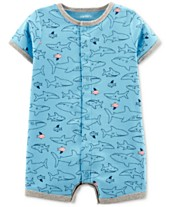 c7945caff Carter s Baby Boys Fish-Print Cotton Romper