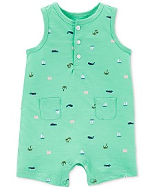Carter's Baby Boys Beach-Print Cotton Romper