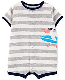 Baby Boys Striped Bird Cotton Romper