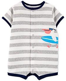 Baby Boys Striped Bird Cotton Romper