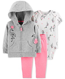 Carter's Baby Girls 3-Pc. Flamingo Hoodie, Printed Bodysuit & Pants Set