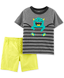Carter's Baby Boys 2-Pc. Monster Striped T-Shirt & Shorts Set