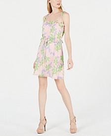 Square-Neck Printed A-Line Dress