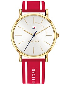 Tommy Hilfiger Women's  Red Silicone Strap Watch 35mm Created for Macy's