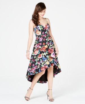 Image of Aidan by Aidan Mattox Floral-Print High-Low Dress