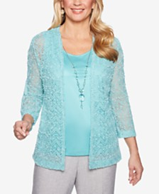 Alfred Dunner Versailles Lace Layered Look Top