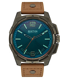 Kenneth Cole Reaction Men's Brown Faux Leather Strap Watch 51mm