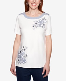 Alfred Dunner Smooth Sailing Button-Shoulder Embroidered Top