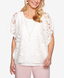 Alfred Dunner Society Pages Embroidered Mesh Top