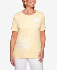 Alfred Dunner Endless Weekend Lace Panel Embroidered Top