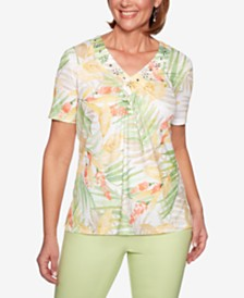 Alfred Dunner Endless Weekend Embellished-Neck Printed T-Shirt