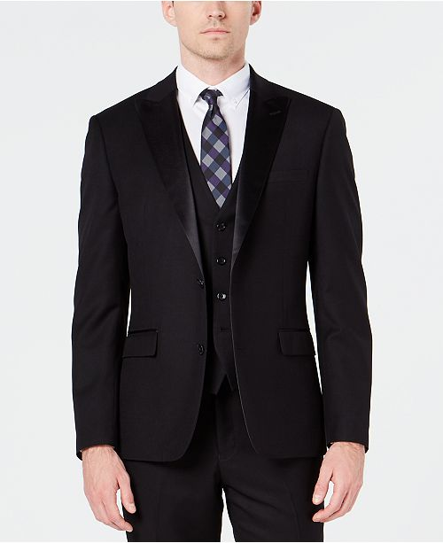 Ryan Seacrest Distinction Men's Slim-Fit Stretch Black Tuxedo Jacket, Created for Macy's