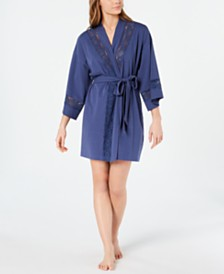 Charter Club Embroidered Lace Soft Knit Robe, Created for Macy's