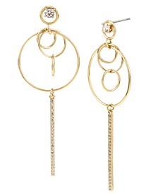 Multi Circle Pave Bar Drop Earrings