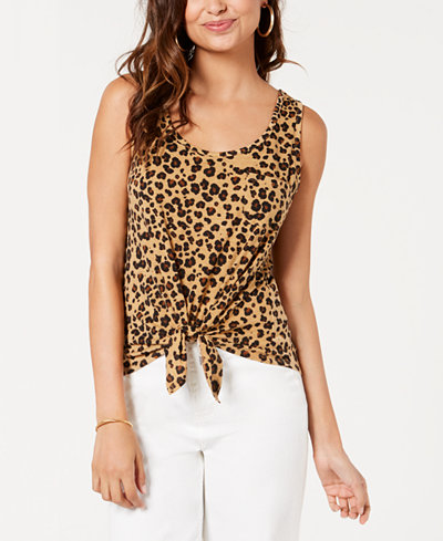 Rebellious One Juniors' Leopard Printed Tie-Front Tank Top