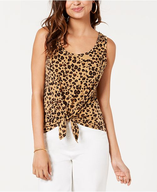 9f8168013d69b1 Rebellious One Juniors' Leopard Printed Tie-Front Tank Top & Reviews ...