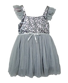 Popatu Baby & Little Girls High Waist Dress With Silver Sequin Decoration