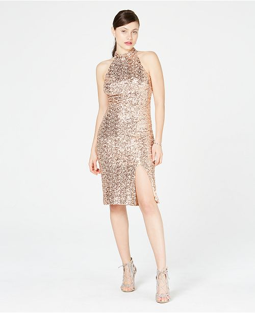 Vince Camuto Sequined Open-Back Sheath Dress