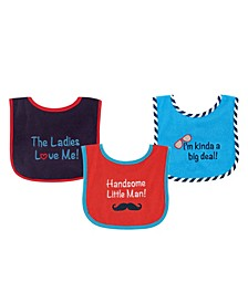 Drooler Bibs with Waterproof Back, 3-Pack, Boys, One Size