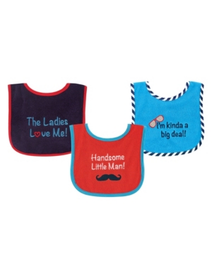 Luvable Friends Babies' Drooler Bibs With Waterproof Back, 3-pack, Boys, One Size In Multi