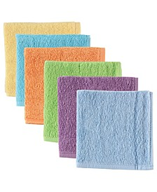 Luvable Friends Washcloths, 6-Pack, Yellow, One Size