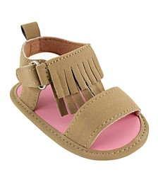 Luvable Friends Sandals with Fringe, Tan, 0-18 Months