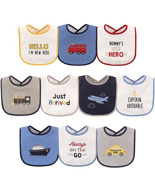 Luvable Friends Drooler Bibs with Waterproof Backing, 10-Pack, One Size
