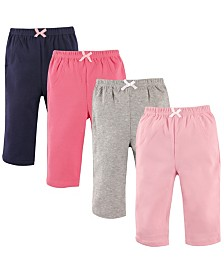 Luvable Friends Pants, 4-Pack, Girl Solids,0-24 Months