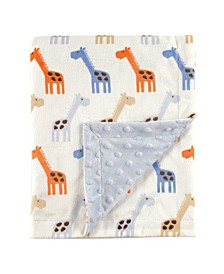 Minky Blanket with Dotted Mink Backing, Blue Giraffe, One Size