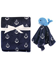Plush Blanket and Animal Security Blanket, 2-Piece Set, One Size