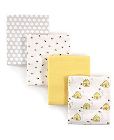 Hudson Baby Flannel Receiving Blankets, 4-Pack, One Size